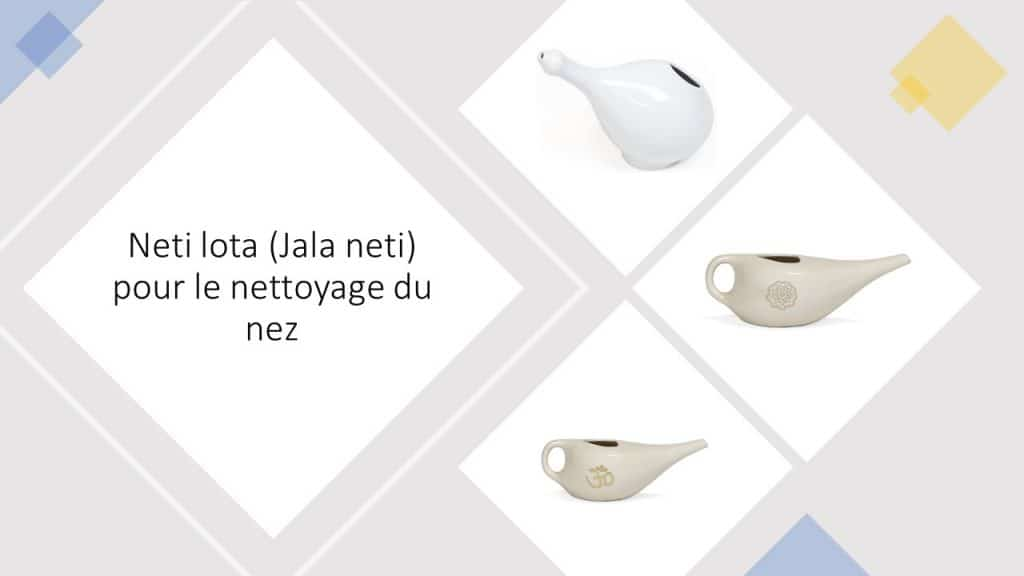 Image avec 3 modèles de Neti lota (Jala neti) pour une douche nasale